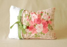 """SALE 25% OFF! Ready to Ship! Shabby Chic Pillow Cover Chenille With Ribbon Vintage 12""""x16"""""""