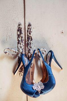 Vintage Navy & Ivory DIY Wedding | Confetti Daydreams -  Gorgeous navy peep-toe wedding heels