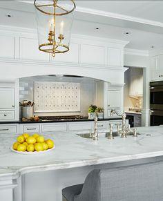 Kitchen Countertop Ideas. Great Kitchen Countertop. #Kitchen #Marble #Countertop Countertop is Gold Calacatta marble.  Martha O'Hara Interiors