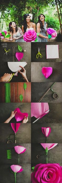 Giant diy flower of hot pink Paper Roses tutorial - paper roses crafts - LoveItSoMuch.com