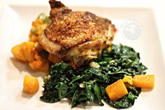 Tikka Masala Cast Iron Chicken Thighs with Sauteed Kale and Roasted Butternut Squash.  #paleo #recipe #petesplates