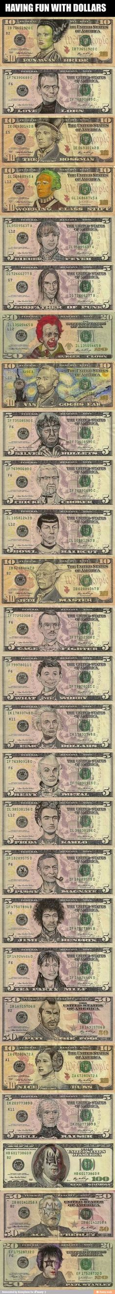 Dollar bills turned into characters