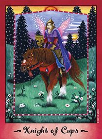 October 19 Tarot Card: Knight of Cups (Faerie deck) Follow the guidance of your feelings now. Creative and intuitive energies are flowing, and with an open heart and a ready spirit, beautiful things can happen