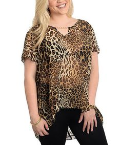 Love this Brown Leopard Short-Sleeve Hi-Low Blouse - Plus by The Wholesale Fashion Square on #zulily! #zulilyfinds