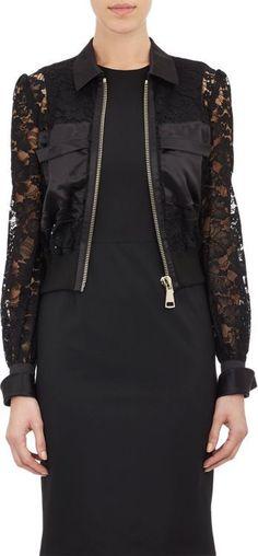 f24c0988f49 Givenchy Lace Bomber Jacket-Black Black Lace Jacket, Black Bomber Jacket,  Skirt Suit