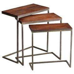 Cyan Design Lighting 05232 Jules Nesting Tables rustic-side-tables-and-end-tables Table Furniture, Modern Furniture, Apartment Furniture, Accent Furniture, Apartment Living, Furniture Design, Wood Nesting Tables, Wood Table, Bliss Home And Design