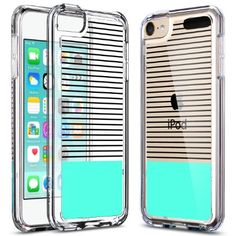 iPod Touch 6 Case,iPod Touch 5 Case,ULAK [CLEAR SLIM] High Quality Soft TPU Case for iPod Touch 6 5th Generation Bumper Hard Cover _2015 Released (Minimal Mint Stripes)
