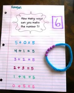 Ways to make the number 6.  Kids make a bracelet for whatever number you are learning parts of.