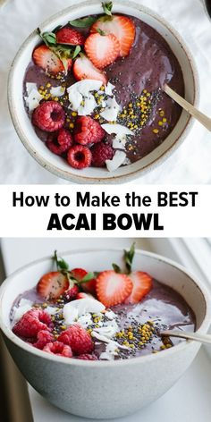 Acai bowl recipe with mixed berries a delicious healthy smoothie bowl for breakfast or lunch that s gluten free vegan and paleo acai acaibowl smoothiebowlrecipe 26 high protein low carb keto shakes for weight loss ignites ketosis Healthy Desayunos, Healthy Snacks For Weightloss, Healthy Smoothies, Smoothie Recipes, Healthy Recipes, Acai Recipes, Healthy Eating, Smoothie Bowl, Best Smoothie