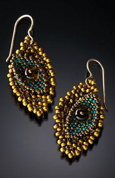 Scattered Leaf Earrings in Turquoise Brass: Julie Powell: Beaded Earrings - Artful Home