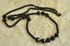 Vintage Polished Black Glass Mourning Bead by TheRustyChicken, $19.95