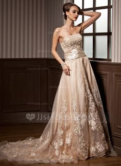 Wedding Dresses - $212.99 - A-Line/Princess Strapless Court Train Organza Satin Wedding Dress With Ruffle Lace Beading (002012639) http://jjshouse.com/A-Line-Princess-Strapless-Court-Train-Organza-Satin-Wedding-Dress-With-Ruffle-Lace-Beading-002012639-g12639