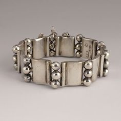 "Hector Aquilar Silver ""Book and 3 bead Bracelet"