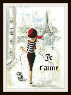 "Beautiful art print  Vintage Parisian Print ""Je Taime""  Art Image Wall Decor UnframedPrint is Unframed 8.5 x 11"" Ready for framing . Professionally printed on m"