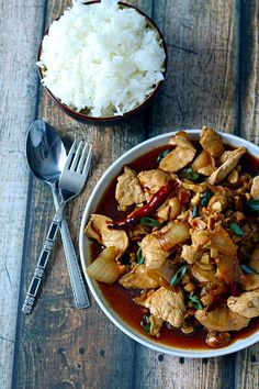 The BEST recipe for Thai-style chicken with cashews. No need to call for take-out tonight!!