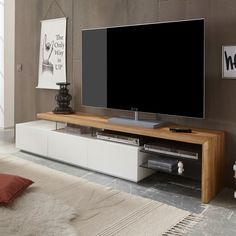 Alanis modern TV stand in knotty oak and matt white with 3 drawers and glass shelves is the perfect fresh design for modern home decor - 30649 wooden TV stands, TV units, cabinets & wall entertainment units, modern & contemporary. Modern Tv Cabinet, Tv Cabinet Design, Modern Tv Wall Units, Tv Console Modern, Tv Rack Design, Tv Console Design, Contemporary Tv Units, Tv Stand Modern Design, Tv Stand Designs