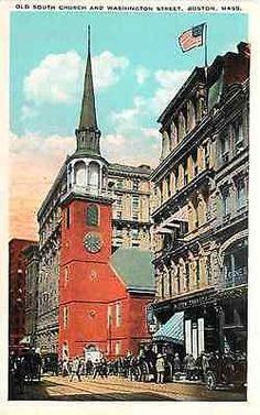 Boston Massachusetts MA 1908 Old South Church Washington Street Vintage Postcard Boston Massachusetts MA 1920s Old South Church on Washington Street. Unused Tichnor collectible antique vintage postcar