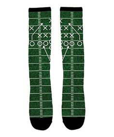 Another great find on #zulily! Green & Black Football Play Knee-High Socks #zulilyfinds
