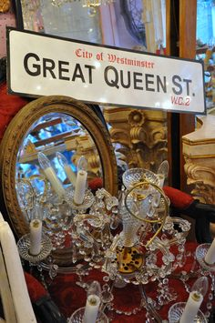 Find a fabulous display of vintage candelabras at Goosey Ganders, Hay-on-Wye.