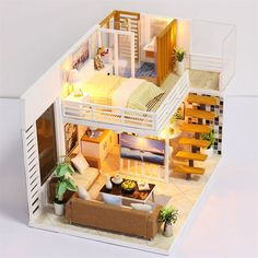 Personalized Time Shadow Modern Doll House Miniature DIY Kit Dollhouse With Furniture LED Light Box Gift - NewChic Mobile Sims 4 House Design, Tiny House Design, Wooden Dollhouse, Diy Dollhouse, Miniature Dollhouse, Bg Design, Cute House, Miniature Houses, House Layouts