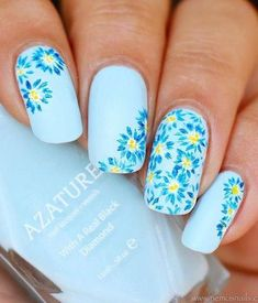 50 flower nail art designs is part of Blue nail designs - 50 Flower Nail Art Designs Beautifulart Blue Simple Nail Art Designs, Nail Designs Spring, Nail Art Flowers Designs, Light Blue Nail Designs, Best Nail Art Designs, Spring Nail Art, Spring Nails, Summer Nails, Spring Art