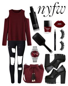"""""""#nyfw"""" by smithamay ❤ liked on Polyvore featuring WithChic, Loeffler Randall, Lime Crime, Marc by Marc Jacobs, Givenchy, GHD and shu uemura"""
