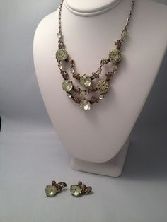 Vintage Hollycraft Copr C.1952  Giant Rhinestone 3 tier necklace and earrings  #Hollycraft