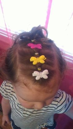 Toddler little girl hairstyle with clips & elastic!