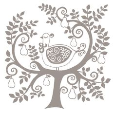Partridge in a Pear Tree Folk Style Wood Stamp