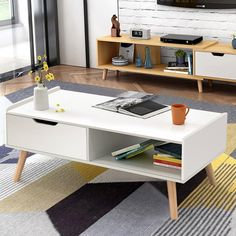 Modern Coffee Table Side End Table Cabinet w/ Drawers