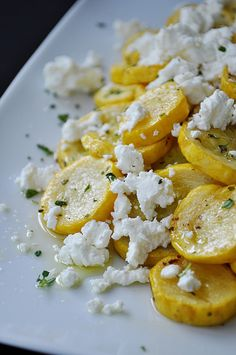 Summer squash with goat cheese & thyme.
