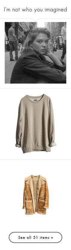 """I'm not who you imagined"" by makeitawful ❤ liked on Polyvore featuring tops, sweaters, jumpers, shirts, boy, brown sweater, beige jumper, shirt jumper, beige sweater and jumper shirt"