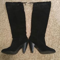 BCBG over the knee black suede boots These are adorable! Gently used over the knee black suede BCBG Generation boots with lace-up ruffled  top. Some damage on heels (see last pic) and priced accordingly. BCBGeneration Shoes Over the Knee Boots