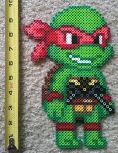 Kid Teenage Mutant Ninja Turtles perler beads by Movie Crafts, Nerd Crafts, Diy And Crafts, Perler Bead Templates, Perler Patterns, Perler Coasters, Peler Beads, Ninja Turtle Party, Melting Beads