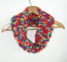 Knit Cowl Scarf, Chunky Infinity Scarf, Red Blue Yellow Scarf, Drop Stitch Scarf, Knit Infinity Scarf, Chunky Scarf, Hand Knit Cowl - pinned by pin4etsy.com