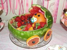 Baby shower watermelon baby carriage