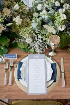 Blue wedding set up. #Wedding Photography: Scott Andrew Studio / Event Planning: Adrienne Colosimo of Bespoke Affairs