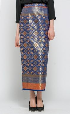 Kania Songket Skirt in Blue and Gold