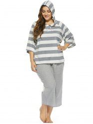 Plus Size Stripe Two Piece Outfits in Gray | Sammydress.com Mobile