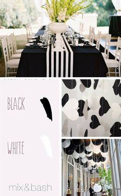 Bridal Shower Colors, White Bridal Shower, Color Combos, Color Schemes, Ultra Classic, Feels, Table Decorations, Black And White, Modern