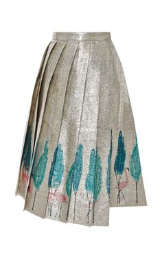 Metallic Flamingo-Print Pleated Skirt by Vika Gazinskaya Now Available on Moda Operandi