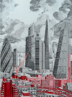 London Landscape:  Using a rotring pen on white paper, Cornwall-based artist Mark Lascelles Thornton has embarked on a massive architectural drawing project called the The Happiness Machine. Each panel represents a stylized red and grayscale representation of architectural highlights from eight locations.