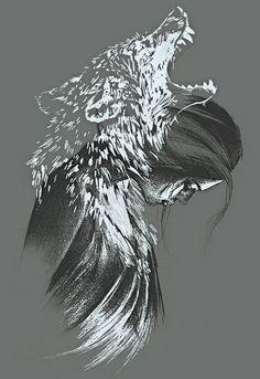 Correa, Nanda - Woman Shaman w Howling Wolf Spirit (Tattoo), I
