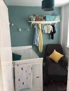 Farrow & Ball dix blue nursery for my little boy, accented with dark grey and light yellow Dix Blue Farrow And Ball, Farrow Ball, Grey Yellow, Dark Grey, Nursery Ideas, Bedroom Ideas, Yellow Nursery, Living Room, Boys