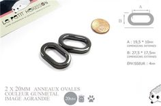 2 x 20mm Anneaux Ovales / Métal / Gunmetal