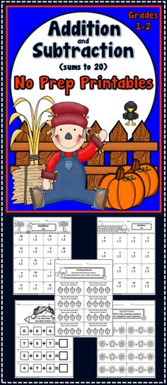 72 Fall themed addition and subtraction (within 20) No Prep Printables (grades 1-2); autumn, fall
