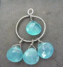 Blue briolette bead and wire earring #tutorial