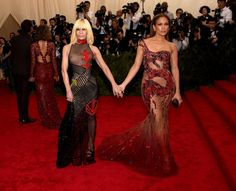 Donatella Versace and Jennifer Lopez attend the 'China: Through The Looking Glass' Costume Institute Benefit Gala at the Metropolitan Museum of Art on May 4, 2015 in New York City. (Photo by Dimitrios Kambouris/Getty Images)