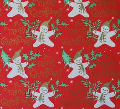 Vintage Ben-Mont Christmas Gift Wrap Wrapping Paper Happy