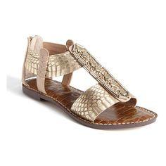 Sam Edelman 'Garrison' Sandal Rose Gold/ Nude Metallic Snake 5 M ($65) ❤ liked on Polyvore